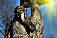 The old stone statue of an angel in light sunlight (doomsday, ap stock images