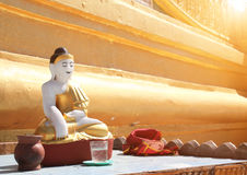 Old stone statue of meditating Buddha, Bago, Myanmar Stock Photography