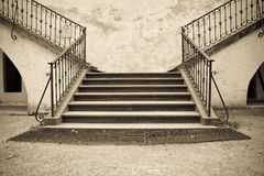 Old stone steps. Of a medieval castle in Europe Stock Photography