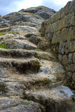 Old stone steps at Ingapirca. Old stone steps at the ancient ruin Inca city of Ingapirca, Ecuador, on an overcast day Royalty Free Stock Photography