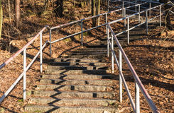Old stone steps with rails Stock Photos