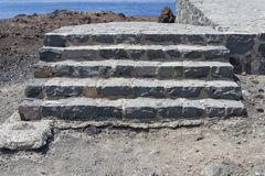 Old, stone steps up to the observation deck. The island of Tenerife stock photography