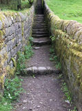 Old stone steps with walls in countryside Royalty Free Stock Image