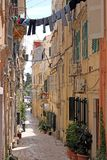 Old stone street and houses Corfu town Stock Image