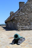 Old stone structures and canons in courtyard, Fort Ticonderoga,New York, 2014 Stock Images