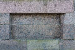 Old stone texture. Background of old stone texture and niche or deepening Royalty Free Stock Images