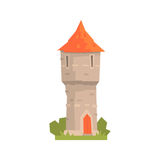 Old stone tower with red roof, ancient architecture building vector Illustration Stock Photography