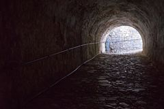 Old stone tunnel of fortress from the inside Royalty Free Stock Image