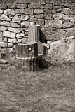 Old stone wall. Black and white photograph showing details of dry stone wall Royalty Free Stock Photos