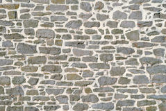 Old Stone Wall. Stacked stone wall with mortar and raddom sized stone background Stock Photos