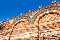 Old stone wall with ancient pattern, Church in Nessebar Stock Images