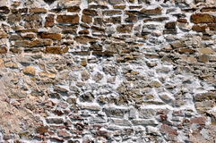 Old stone wall background texture. Old medieval castle stone wall with lime mortar. Niedzica, Poland, 14th century Royalty Free Stock Photography