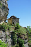 Old stone wall byzantine building in historic monastery complex Stock Photography