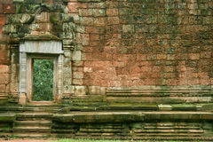 Old stone wall. In Cambodia temple Royalty Free Stock Photos