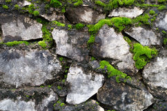 Old stone wall covered green moss Stock Photo
