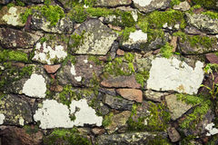 Old stone wall with green moss Royalty Free Stock Image