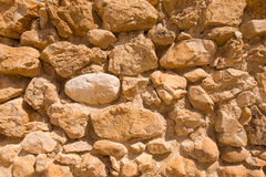 Old stone wall. Old wall made of Jerusalem stone, Israel stock photos