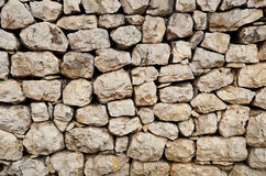 An old stone wall made of loose stone blocks - a natural rock mosaic like pattern royalty free stock images