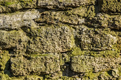 Old stone wall with moss and lichen Stock Photos