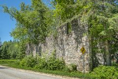 Old stone wall ruins stock image