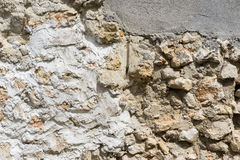 Old stone wall with old textures, in a village of spain Royalty Free Stock Images
