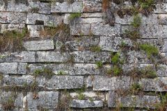 Old stone wall textureancient temple royalty free stock photo