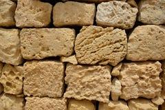 Old stone wall texture, big bricks. Old stone wall texture, Rabat, Malta stock photo