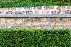Old stone wall texture classic facade with green bushes Royalty Free Stock Images
