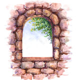 Old stone wall  with window. Stock Photography