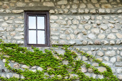 Old stone wall and window, Melnik, Bulgaria Royalty Free Stock Photography