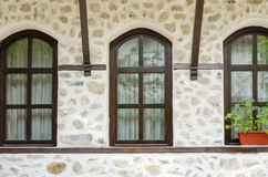 Old stone wall and window, Melnik, Bulgaria Royalty Free Stock Image