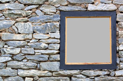 Old Stone Wall With A Wood Frame Stock Photography