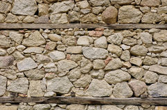 Old stone wall with wooden beams Royalty Free Stock Photography