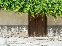 Old stone wall and wooden door Stock Photography