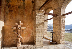 Old stone walls of the monastery. NOVI PAZAR, SERBIA: Old stone walls of 13th century Sopocani monastery under sun. The Stari Ras complex with monastery was Stock Images