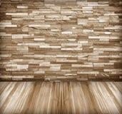 Old stone walls, wooden floor corridor. Stock Photo