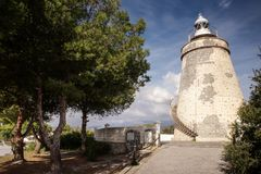 Old stone watchtower in almunecar spain stock photo