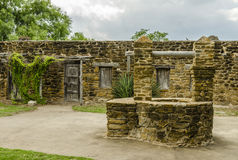 Old stone well at Mission San Jose in San Antonio, Texas Royalty Free Stock Photos