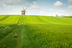 An old stone windmill in field Stock Photo