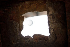 Old stone window. With light Stock Image