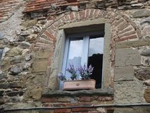 Old stone window with purple flowers in front. Angiari Tuscany Italy, Just an old window with flowers in front of it Stock Image