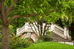 Old stoned bridge in Monceau Park Royalty Free Stock Photography