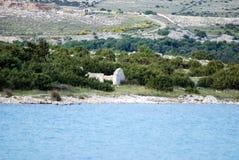 Old stoned ruin on island Pag in Dalmatia,Croatia stock photo