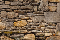Old stoned wall with bird flying in the bottom right side Stock Photography