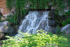 Old stones architecture waterfalls cascade of water royalty free stock photos