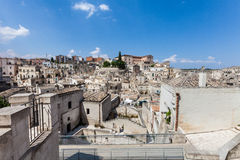 Old stones buildings and ancient Italian village in Matera in Italy Royalty Free Stock Photos