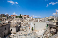 Old stones buildings and ancient Italian village in Matera in Italy Stock Images