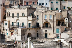 Old stones house buildings and ancient Italian village in Matera in Italy Stock Images