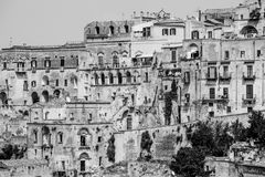 Old stones house buildings and ancient Italian village in Matera in Italy Royalty Free Stock Photography