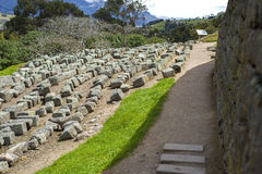 Old stones at Ingapirca ruins. Old stones at the ancient Inca ruins of Ingapirca, on an overcast day, Ecuador Royalty Free Stock Photography